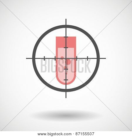 Crosshair Icon With A Chemical Test Tube