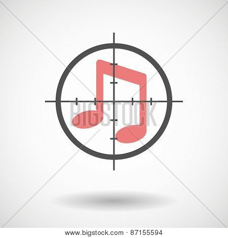 Crosshair Icon With A Musical Note