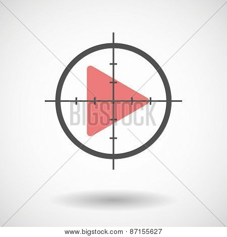 Crosshair Icon With A Play Sign