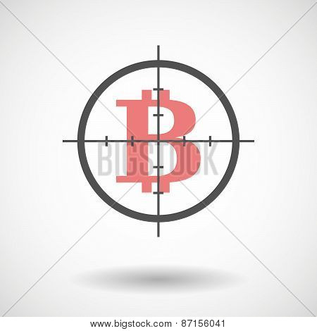Crosshair Icon With A Bit Coin Sign