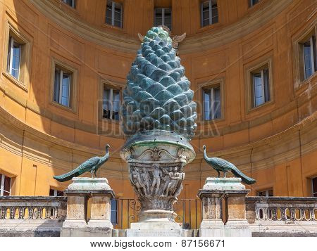 Cone And Peacock Statues