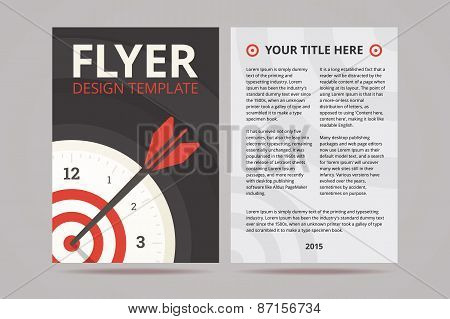 Flyer design template with time management illustration on the c