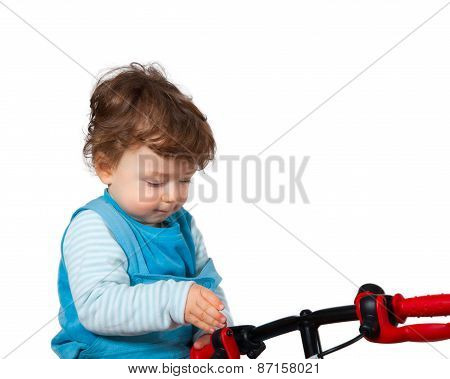 Baby Boy Playing With His Bike