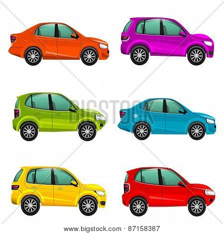 Colorful cars side view illustration