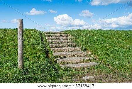 Concrete Stairs At A Grassy Embankment