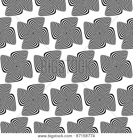 Design Seamless Monochrome Whirlpool Motion Illusion Background