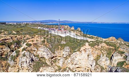 Aerial from the lighthouse in Lagos Portugal
