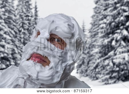 Surprised man with shaving foam on his head