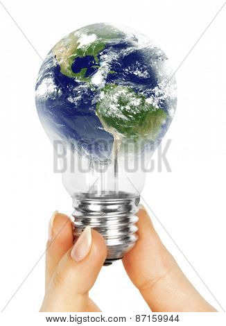 One lamp in human hand on white background. Elements of this image furnished by NASA