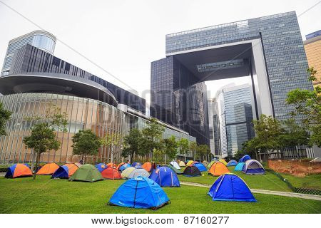 Camping outside the Central Government Offices at Admiralty, Hong Kong