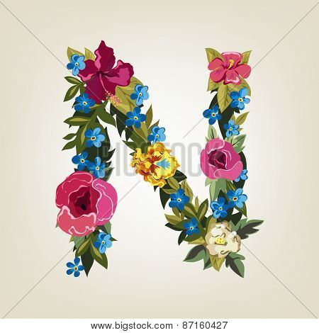 N letter. Flower capital alphabet. Colorful font. Uppercase.  Vector illustration.