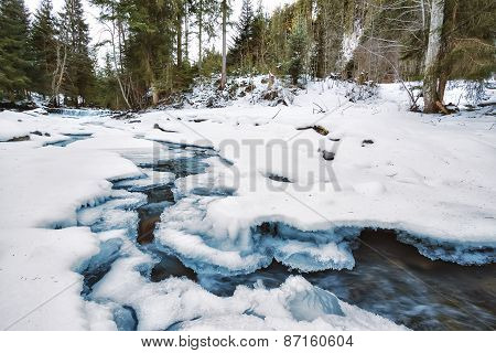 Mountain River Under The Ice