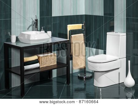 Detail Of A Modern Bathroom With Sink And Toilet