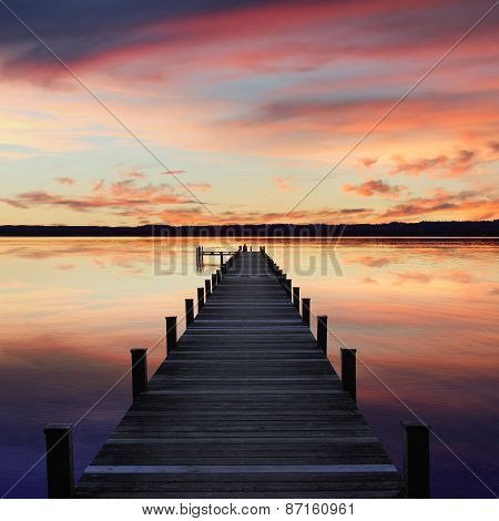 Romantic Scenery Starnberg Lake, At Sunset