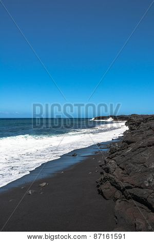 The black sand beach, Hawaii
