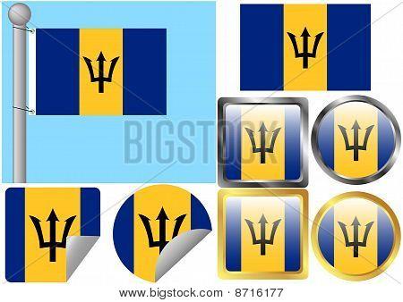 Flag Set Barbados