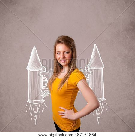 Cute young girl with jet pack rocket drawing illustration