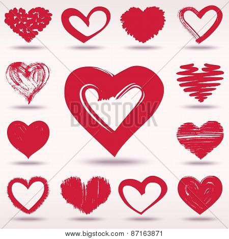 Set Of Grunge Vector Hearts Love Theme