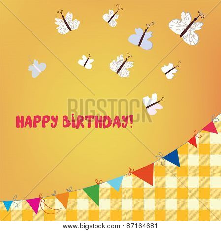 Birthday Card With Butterflies And Bunting Flags