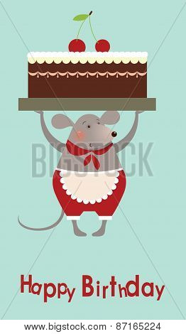Mouse Cooke With Cake