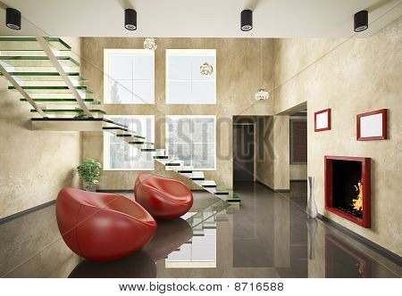 Interior Of Room With Glass Staircase And Fireplace 3D