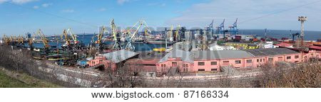 ODESSA, UKRAINE - MARCH 25, 2015: Panoramic view of commercial seaport. Founded in 1794, now it is the largest port in Ukraine and third one in the Black sea by freight turnover