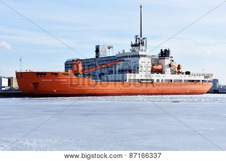 ST. PETERSBURG, RUSSIA - MARCH 6, 2015: Research vessel Akedemik Treshnikov anchored in the port. Built in 2012, the vessel is intended to support the activity of the Russian Antarctic expedition