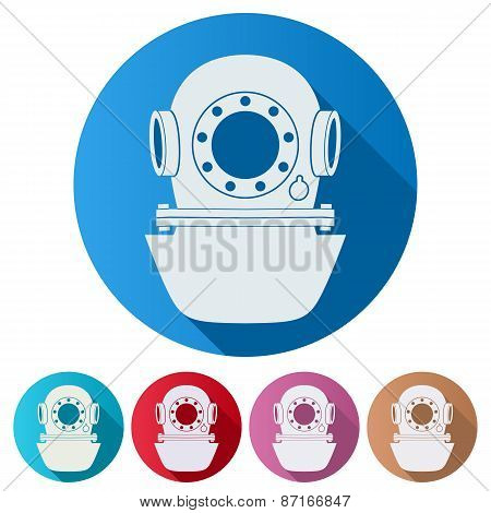 Set Flat icons of Underwater diving helmet.