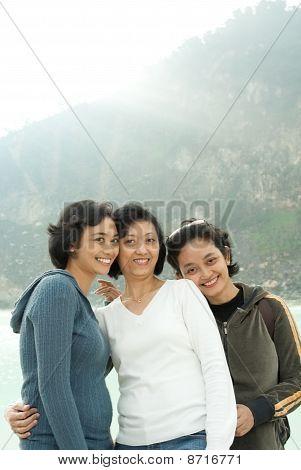 Happy Three Asian Sisters