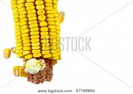 Corn And A Popcorn Isolated