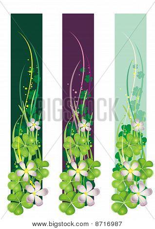 Banner vertical Primavera com trevos de florescência