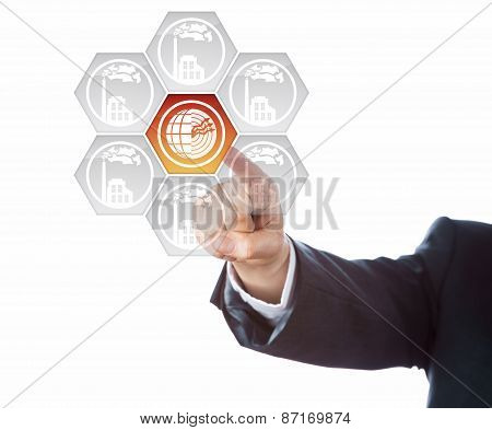 Forearm In Suit Aiming At Geothermal Power Icon