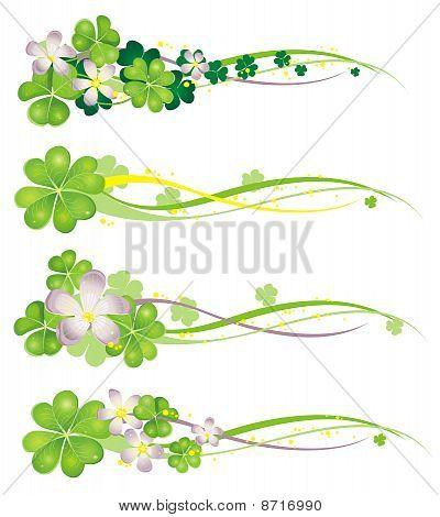Banner Horisontal Primavera com trevos de florescência
