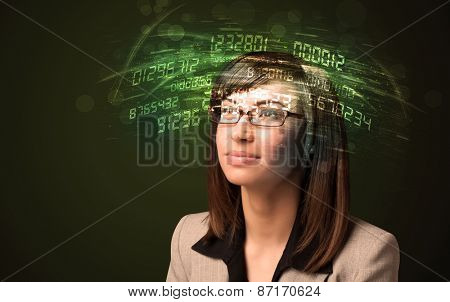 Business woman looking at high tech number calculations concept