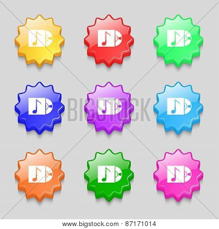 Cd Player Icon Sign. Symbol On Nine Wavy Colourful Buttons. Vector