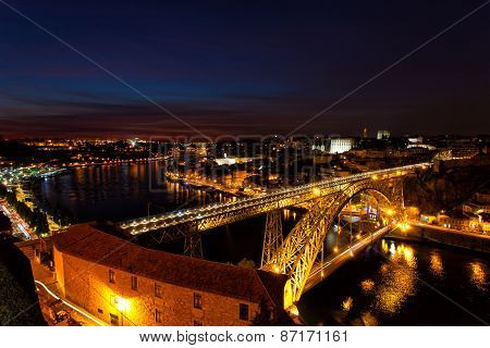Luis I Bridge On A Sunset, The Top View, Portugal, Porto