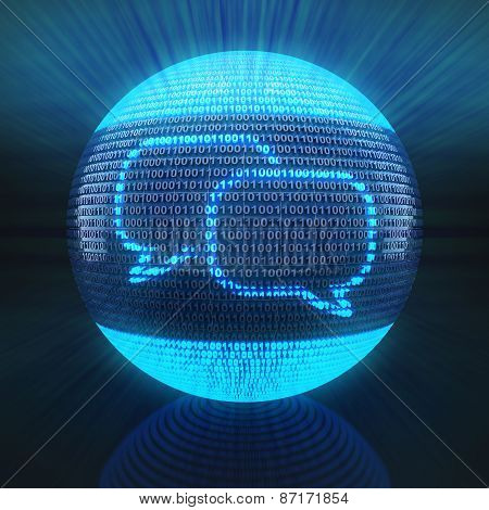 Chat icon on sphere formed by binary code