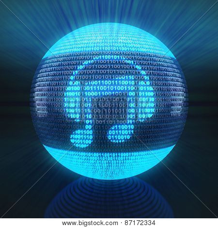 Music icon on sphere formed by binary code