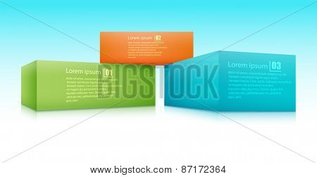Vector illustration of three bricks applied with the text.