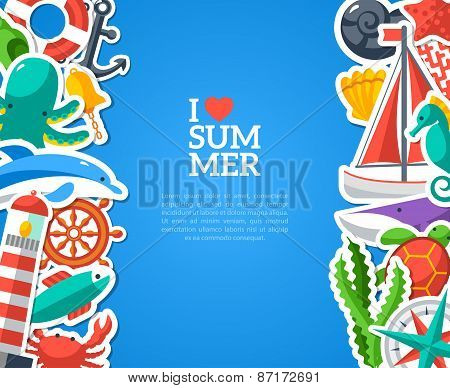 Summer concept with flat icons. Vector illustration.