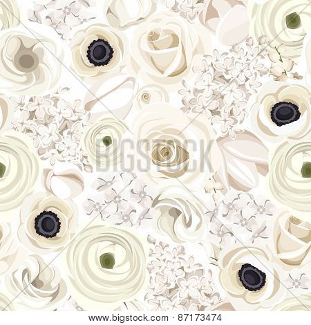 Seamless background with various white flowers. Vector illustration.