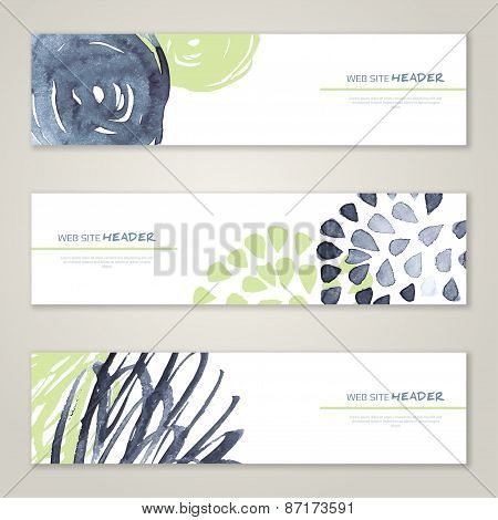 Set of abstract vector watercolor headers for website