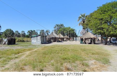 Indigenous Village At The Okavango Delta
