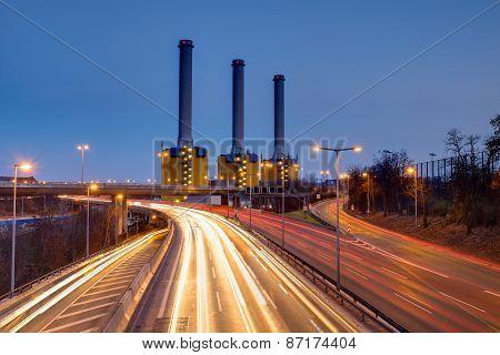 Power generating plant at night