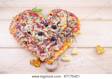 Heart Shaped Pizza And Home Made Pastry