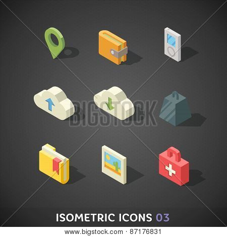 Flat Isometric Icons Set 3