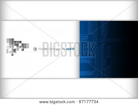 Blue and white circuit board background. Vector illustration