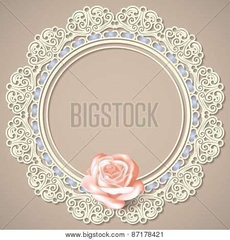White empty lace frame doily with realistic rose on beige background