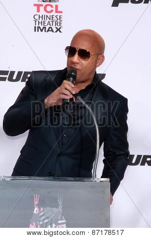 LOS ANGELES - APR 1:  Vin Diesel at the Vin Diesel Hand and Foot Print Ceremony at the TCL Chinese Theater on April 1, 2015 in Los Angeles, CA