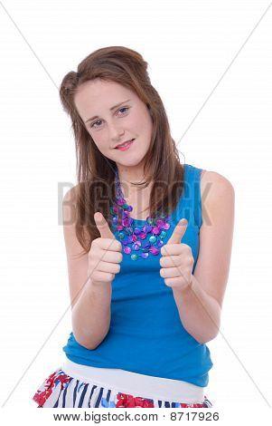Teenage girl with thumbs up